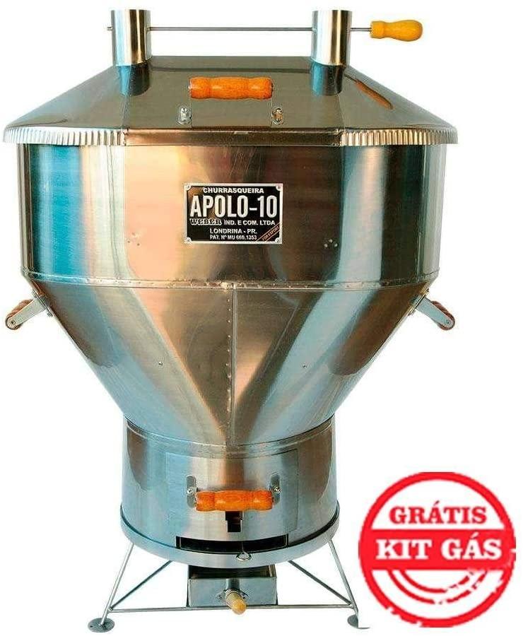 Churrasqueira a Bafo Inox Gás ou Carvão Apolo 10 Inox - Weber