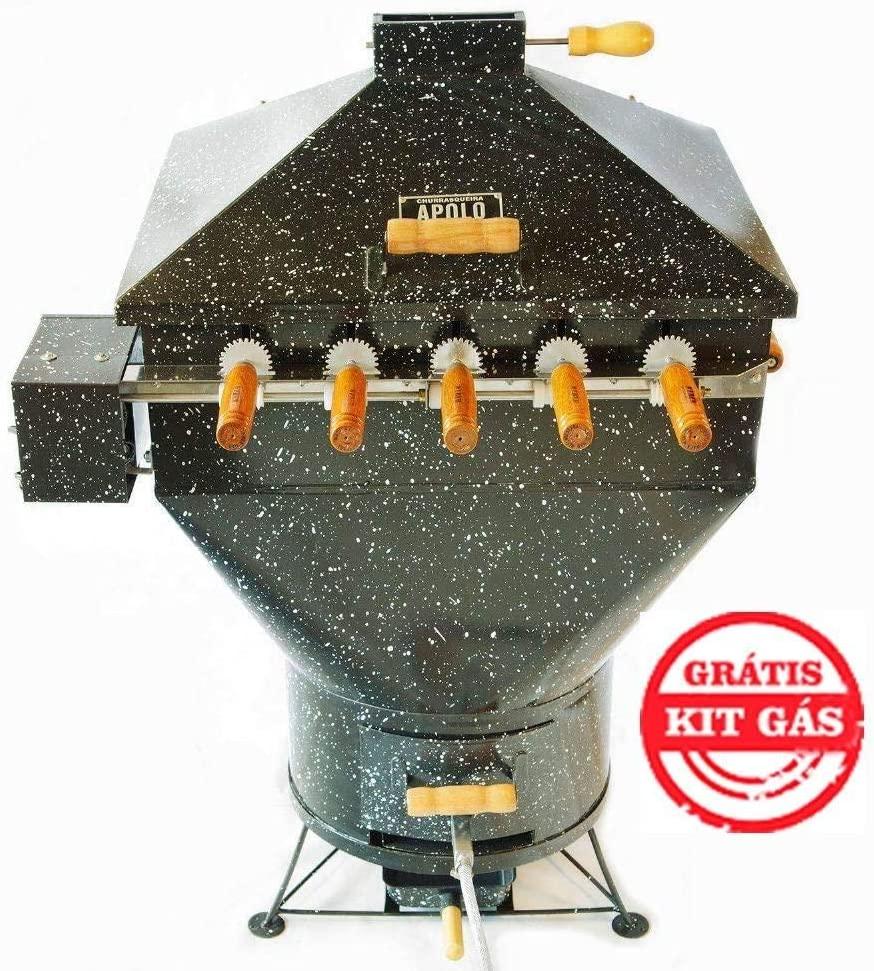 Churrasqueira a Bafo Gás ou Carvão Apolo Plus Mini 5 Espetos Rotativos Esmaltada