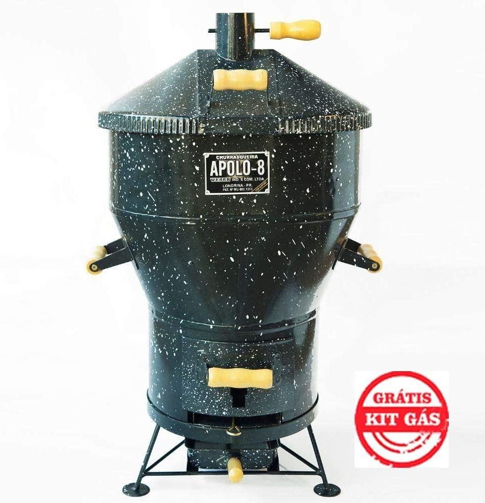 Churrasqueira a bafo grande, gás ou carvão Apolo 8 em Inox